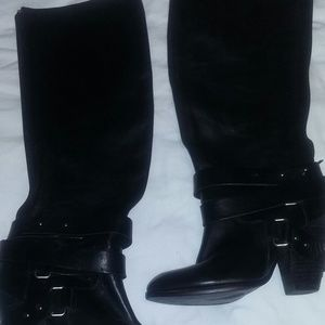 Fergie Shoes - Fergie Black Leather Knee Boot Size 7